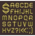 Font from greenish scotch tape - Roman alphabet vector image vector image