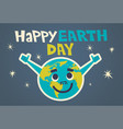 happy earth day cute greeting card design with vector image vector image
