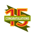 Happy fifteenth birthday badge icon vector image
