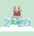 happy new year 2020 celebration reindeer with vector image vector image