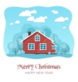 House in winter forest Christmas card background