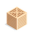 isometric wooden box isolated on white background vector image