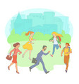late business people hurrying looking watch vector image vector image