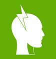lightning bolt inside head icon green vector image