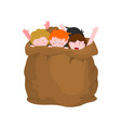 naughty children in sack bad kids in bag scared vector image vector image