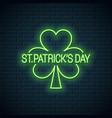 patricks day neon banner patricks shamrock clover vector image