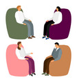 people in armchairs cartoon men and women sit in vector image vector image