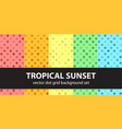 Polka dot pattern set tropical sunset seamless