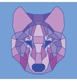 Purple lined low poly wolf vector image vector image