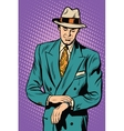 Retro business male wristwatch time vector image