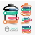rubbish bin infographic with stickers vector image