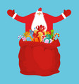 santa and sack of gifts christmas red bag toys vector image