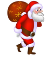 Santa Claus carrying a bag vector image vector image