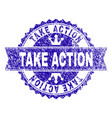 scratched textured take action stamp seal vector image vector image