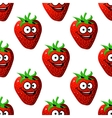 Seamless pattern of a happy ripe red strawberry vector image
