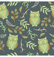 seamless pattern with cute owls leaves vector image vector image