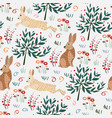 seamless pattern with rabbit forest pattern vector image