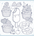 set dessert cupcakes cakes doughnuts and vector image