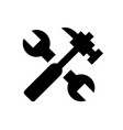 spanner and hammer black building objects vector image