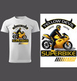 t-shirt design with motorcyclist and inscriptions vector image vector image