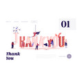 thanking website landing page male and female vector image vector image