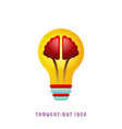 thought-out idea light bulb with brain vector image