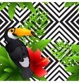 tropical pattern with toucan and hibiscus vector image
