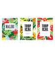 tropical poster or leaflet with exotic flora vector image vector image