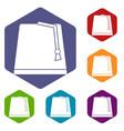turkish fez icons set hexagon vector image vector image