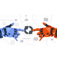 two robotic hands touch updating button on digital vector image vector image
