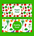 vegan healthy food web banners vector image
