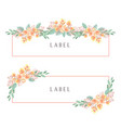 watercolor florals hand painted with text banner vector image vector image