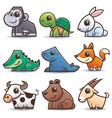 wild animals cartoons set vector image