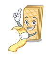 with menu waffle mascot cartoon style vector image