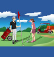 young people playing golf vector image