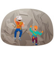 back view of two people climbing up to the cliff vector image vector image