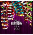 Birthday card with colorful curling ribbons vector image vector image