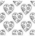 black boho ornamental hearts seamless pattern vector image