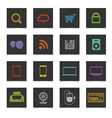 Black buttons with color icons vector image vector image