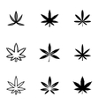black marijuana icon set vector image vector image