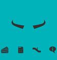 buffalo horns icon flat vector image vector image