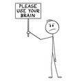 cartoon clever frustrated skeptic man holding vector image