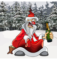 cartoon drunk Santa Claus with a bottle vector image