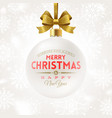 christmas bauble with glitter gold bow ribbon vector image vector image