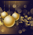christmas baubles on a bokeh lights background vector image vector image