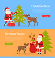 christmas decor and present with santa claus vector image