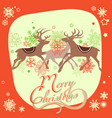 christmas greeting card reindeers and snowflakes vector image vector image