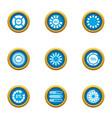 circular sign icons set flat style vector image
