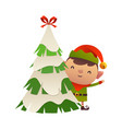 Cute cartoon elf behind christmas tree
