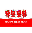 cute funny pink pig happy new year chinese symbol vector image vector image